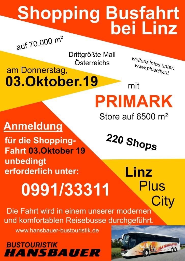 Flyer Shopping Fahrt 03.Oktober.2019 PlusCity Linz