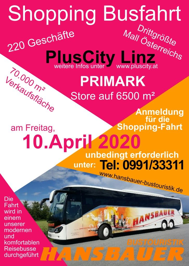 Flyer Shopping Fahrt 10.April.2020 PlusCity Linz